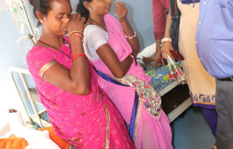 Samir Ghosh interacting with the parents of children with deformity visiting Nagai Narayanji Memorial Foundation for corrective surgery, Nagpur, Apr 2019